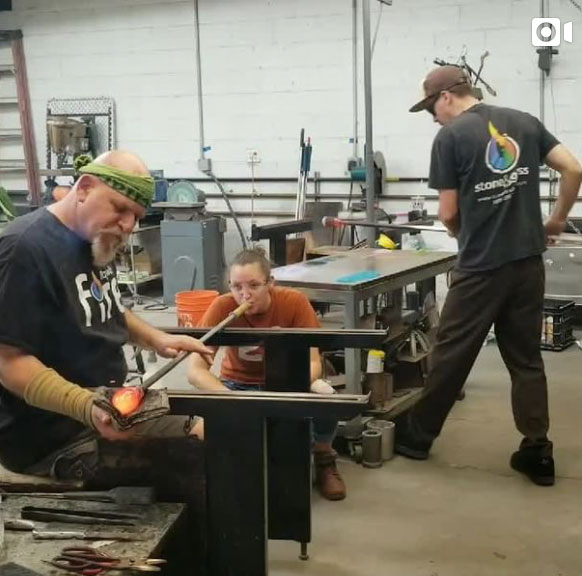 James Stone glass blowing group