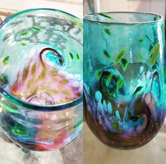 blue green purple pink vases